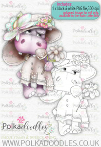 Helga Hippo - blush - download digi stamp