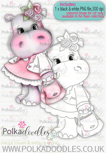 Helga Hippo - Pretty in Pink - download digi stamp