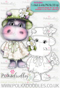 Helga Hippo - Flower Girl - download digi stamp