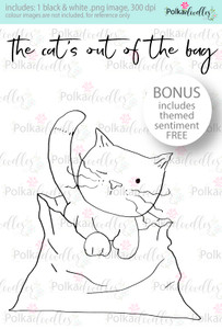 The Cat's out of the Bag...Craft Digital stamp download with FREE Sentiment