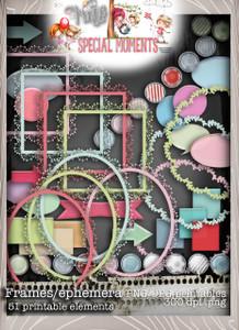 Frames/Ephemera elements Winnie Special Moments...Craft printable download digital stamps/digi scrap kit