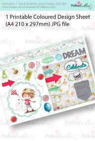 Boy Flying a Kite. Coloured Card making Design Sheet - Winnie Special Moments...Craft printable download digital stamps/digi scrap kit