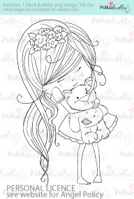 Girl with her best friend teddy bear coloured digital stamp/clipart- Winnie Special Moments...Craft printable download digital stamps/digi scrap kit