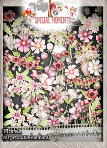 Flowers/Foliage, Winnie Special Moments...Craft printable download digital stamps/digi scrap kit 500 digital stamp clipart