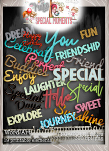 Word Art, Winnie Special Moments...Craft printable download digital stamps/digi scrap kit 500 digital stamp clipart