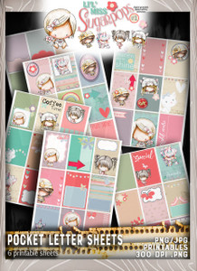 Pocket Letter pages - Lil Miss Sugarpops Kit 1...Craft printable download digital stamps/digi scrap kit