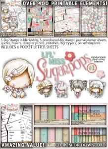 Lil Miss Sugarpops Kit 1 Big bundle...Craft printable download digital stamps/digi scrap kit
