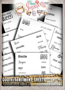 Lil Miss Sugarpops Kit 1 quote/sentiments bundle...Craft printable download digital stamps/digi scrap kit