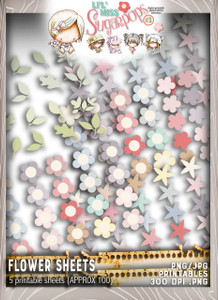Lil Miss Sugarpops Kit 1 Flowers bundle...Craft printable download digital stamps/digi scrap kit