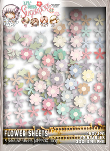 Lil Miss Sugarpops Kit 2 Big flowers bundle...Craft printable download digital stamps/digi scrap kit