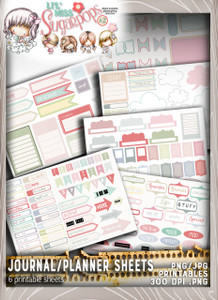Lil Miss Sugarpops Kit 2 Journal/planner bundle...Craft printable download digital stamps/digi scrap kit