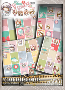 Lil Miss Sugarpops Kit 2 Pocket Letters bundle...Craft printable download digital stamps/digi scrap kit