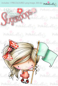 Flying the Flag/Banner/Marching PRECOLOURED digi stamp - Lil Miss Sugarpops 3 craft digi download