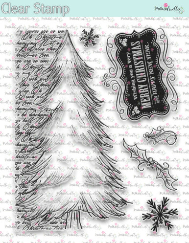 Christmas Tree Script -  Clear Stamp Set