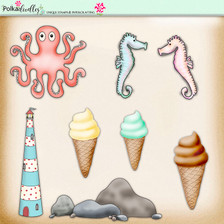 Lemon Top Digi Scrap Kit - ocean, sea, whale, fish, lighthouse, seahorse, ice cream, octopus