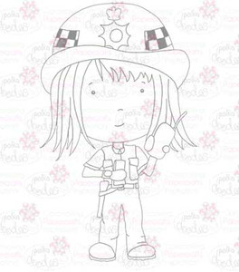 Policewoman digital stamp download
