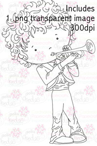 Trumpet Boy digital stamp download