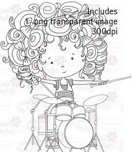 Drummer Girl digital stamp download