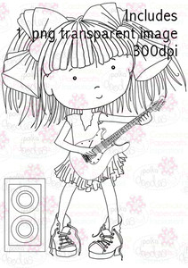 Guitar Girl digital stamp download