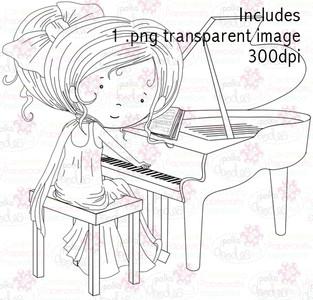 Piano Girl digital stamp download