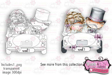 Wedding Car Digital Craft Stamp download