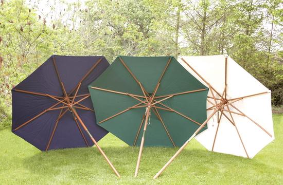 Wooden Garden Parasols Round Deluxe Premium Octagonal Crank Uk