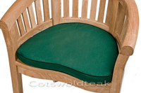 Cotswold Teak Crummock chair cushion available in green or blue.