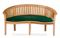 Cotswold Teak Crummock Bench cushion available in green or blue.