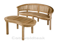 Cotswold teak Crummock Bench shown with a Cam coffee table.