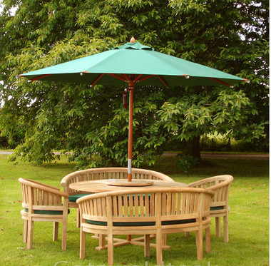 Cotswold Teak Crummock set   Churn 150cm dia round table with 28mm thick  top. Cotswold Teak Garden Furniture Patio Sets Benches Outdoor Tables