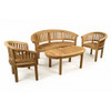 Cotswold teak Crummock Bench & 2 Crummock banana Chairs shown with a Cam coffee table.