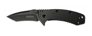 "Kershaw Cryo 1555TBW Assisted Opening Folding Knife, Blackwashed 2.75"" Tanto Plain Edge Blade, Blackwashed Stainless Steel Handle"