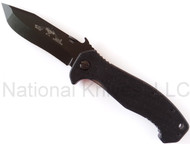 "Emerson Mini CQC-15 BT Folding Knife, Black 3.5"" Plain Edge 154CM Blade, Black G-10 Handle, Emerson ""Wave"" Opening Feature"