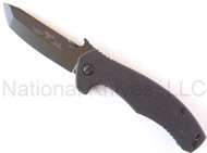 "Emerson Mini Roadhouse BT Folding Knife, Black 3.5"" Plain Edge 154CM Blade, Black G-10 Handle, Emerson ""Wave"" Opening Feature"