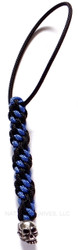 Schmuckatelli Mini Joe Lanyard JPMLBB, Solid Pewter Bead, Black and Blue Cord