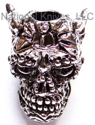 "Schmuckatelli Aquilo Sugar Skull Bead AAR, 3/16"" Hole, Antique Rhodium Plated"