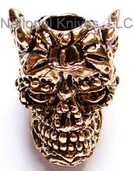 "Schmuckatelli Aquilo Sugar Skull Bead AGA, 3/16"" Hole, Antique Gold Plated"
