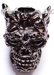 "Schmuckatelli Aquilo Sugar Skull Bead AH, 3/16"" Hole, Hematite Plated"