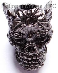 "Schmuckatelli Aquilo Sugar Skull Bead AHM, 3/16"" Hole, Matte Hematite Plated"