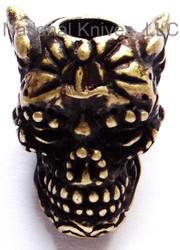 "Schmuckatelli Aquilo Sugar Skull Bead ARBO, 3/16"" Hole, Roman Brass Oxide Plated"