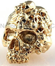 "Schmuckatelli Mind Skull Bead MG, 3/16"" Hole, 18K Gold Plated"