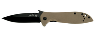 "Kershaw Emerson CQC-4K 6054BRNBLK Folding Knife, Black 3.25"" Plain Edge Blade, Coyote Brown G-10 and Black Stainless Steel Handle"
