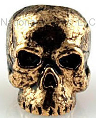 "Schmuckatelli Classic Skull Bead CAG, 3/16"" Hole, Antique Gold Plated"