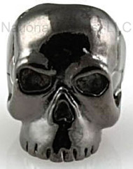 "Schmuckatelli Classic Skull Bead CH, 3/16"" Hole, Hematite Plated"