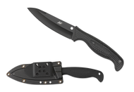 "Spyderco Aqua Salt FB23PBBK Fixed Blade Knife, Black 4.625"" Plain Edge H-1 Blade, Black Handle, Sheath"