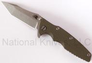 """Rick Hinderer Knives Eklipse Tanto, 3.5"""" S35VN Plain Blade, Olive Drab (OD) G-10"""