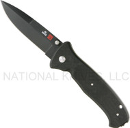 "Al Mar SERE 2000 S2KB Folding Knife, Black 3.6"" Plain Edge Blade, Black G-10 Handle"