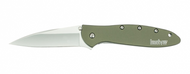 "Kershaw Leek 1660OL Assisted Opening Folding Knife, 3"" Plain Edge Blade, Olive Drab Handle"