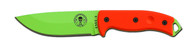 "ESEE 5 Fixed Blade Knife 5P-VG, Venom Green (VG) 5.25"" Plain Edge Blade, Orange G-10 Handle, Clip Plate, Black Sheath, Glass Breaker Pommel"