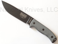 """ESEE 6 Fixed Blade Knife 6P-CP-OD, Black 6.5"""" Plain Edge Blade w/Sharpened Top Edge, Linen Micarta Handle, Clip Plate, Olive Drab (OD) Sheath, Rounded Pommel"""